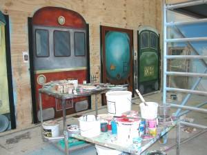 Billede effektmaleri vægmaleri togvogne Bowling Lalandia Billund