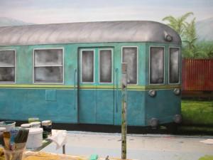 Billede vægmaleri togvogne Lalandia Billund Sommer Larsen