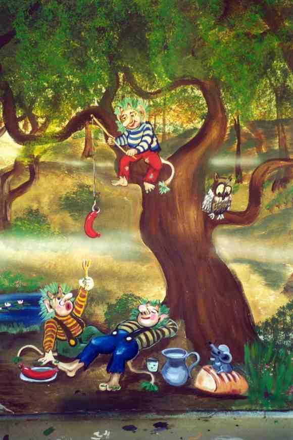 Vægmaleri-troldefrokost-i-skoven-Vuggestuer-børnehaver-dekoration-Sommer-Larsen